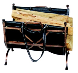 UniFlame Antique Copper Wrought Iron Log Holder W/ Blk Leather Carrier-Uniflame