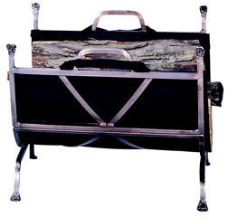 UniFlame Antique Copper Wrought Iron Log Holder With Canvas Carrier-Uniflame W-1327