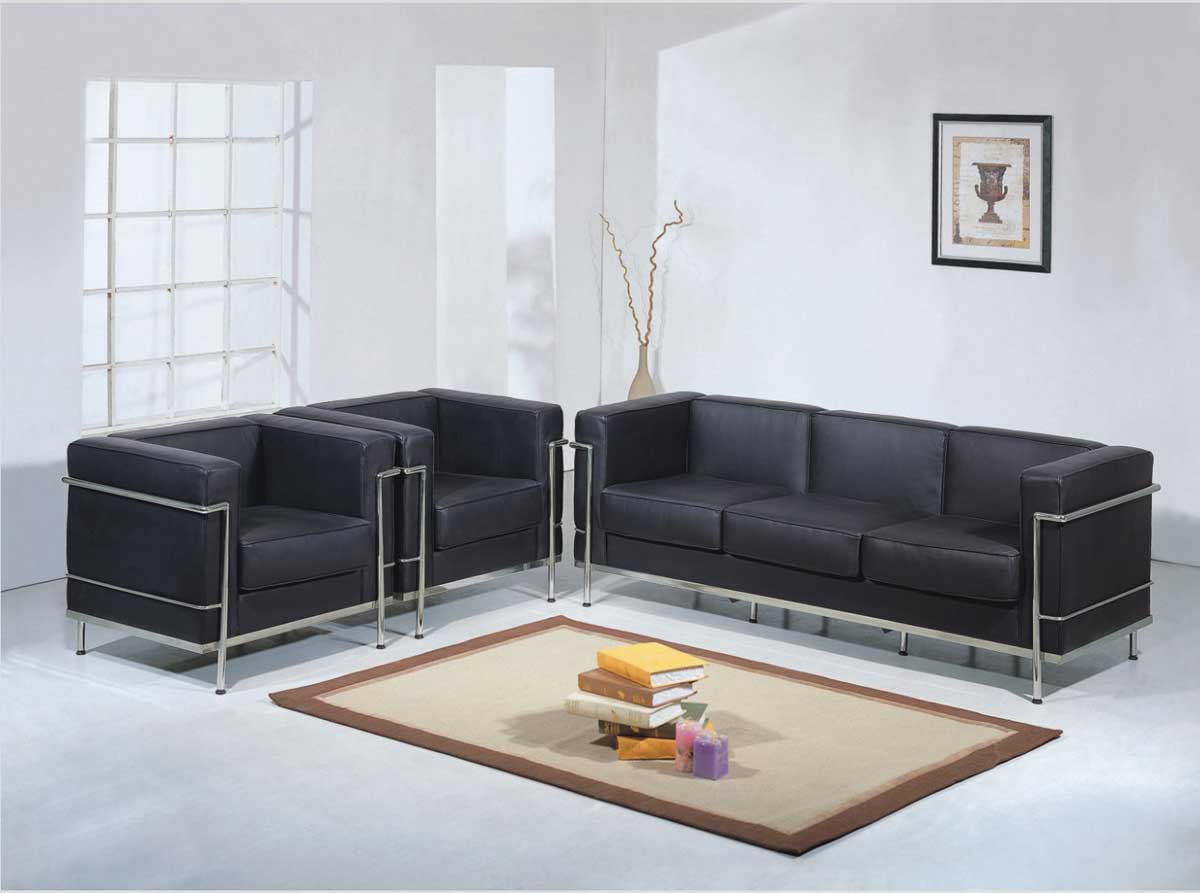 Wholesale interiors 610 le corbusier sofa set black 610 for Le corbusier sofa