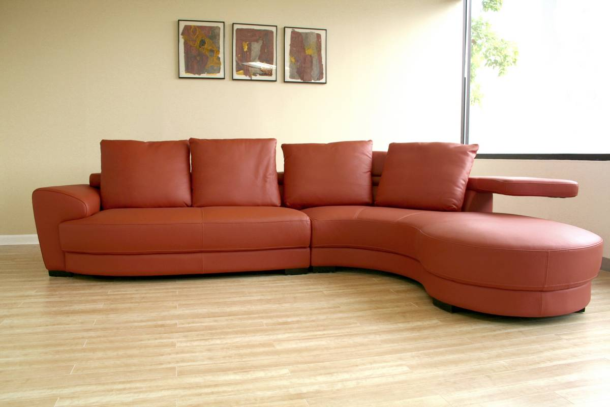 Genial Wholesale Interiors 750 P8003 Full Leather Curved Sectional