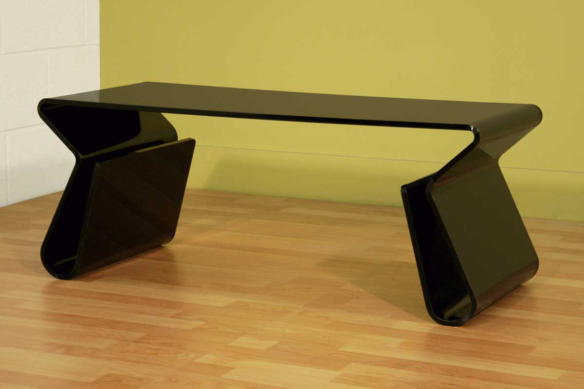 Wholesale Interiors Fay-9948 Black Coffee Table with Magazine Rack
