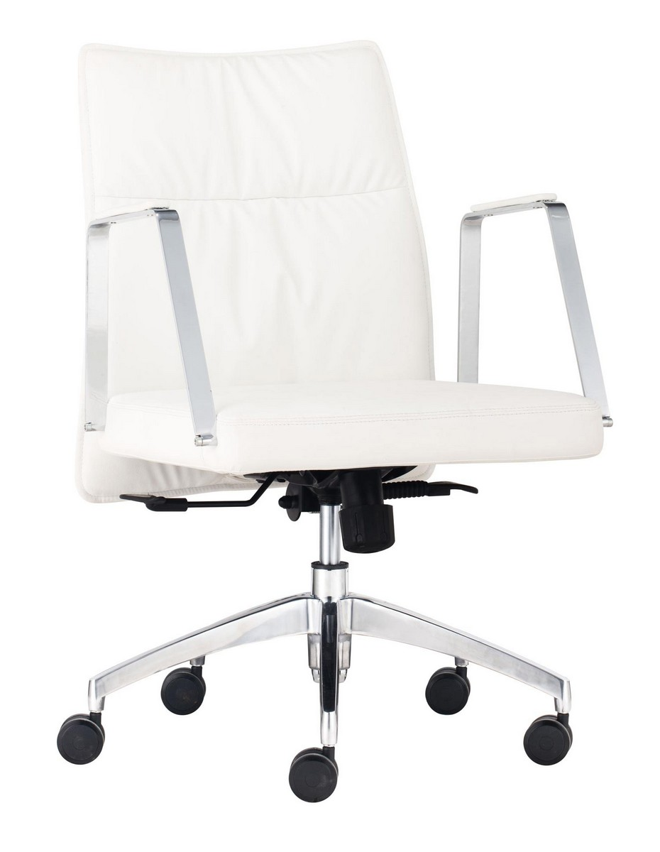 zuo modern dean low back office chair white zm 206137 at. Black Bedroom Furniture Sets. Home Design Ideas