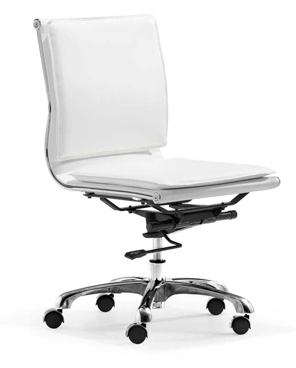 Zuo modern lider plus armless office chair white zm for Modern white office chair
