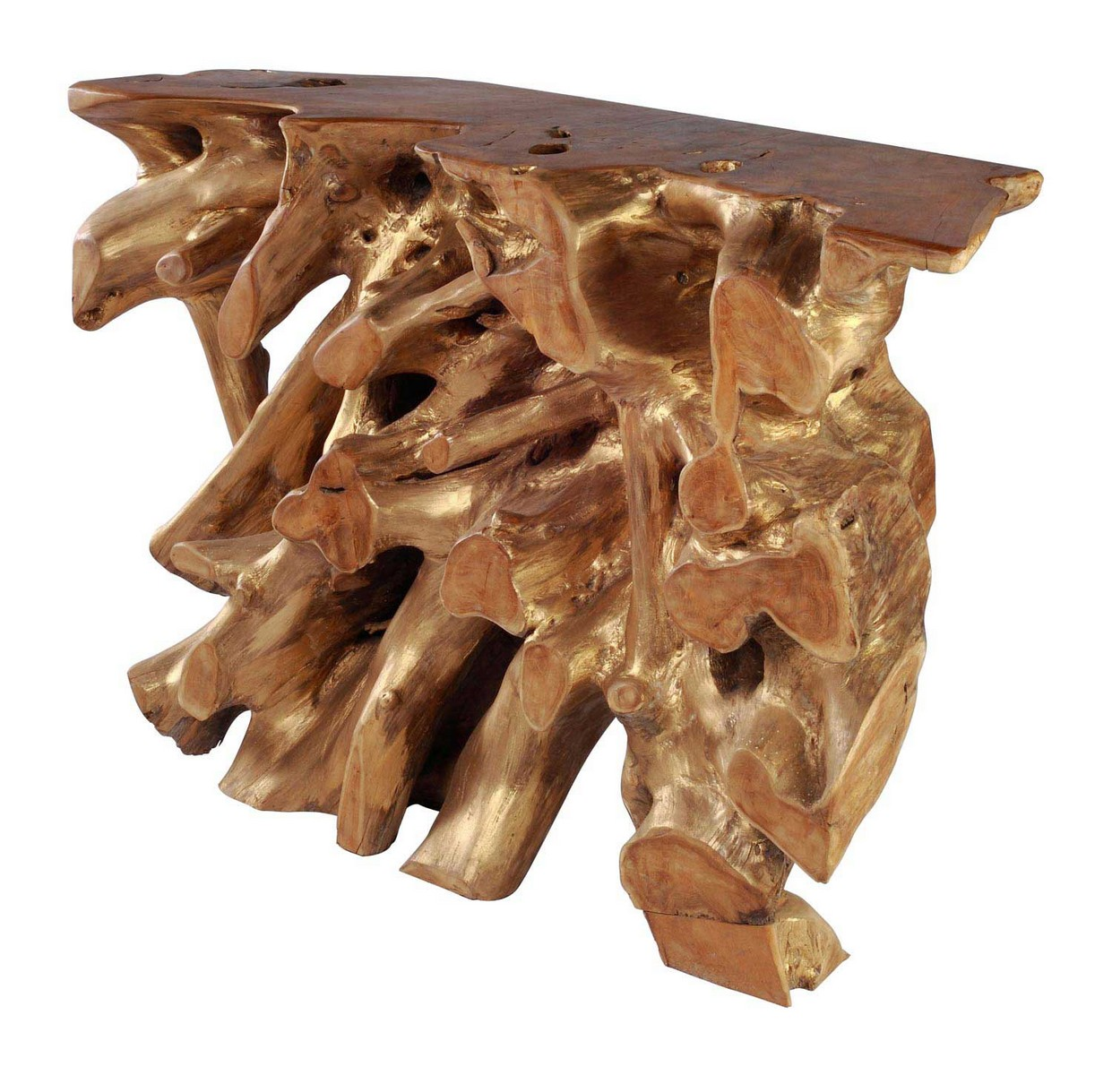 Zuo Modern Dino Console Table Natural Antique Gold Zm
