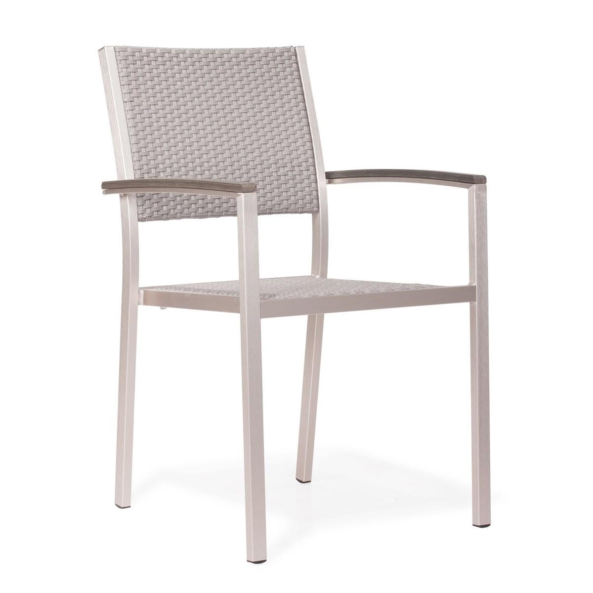 Zuo Modern Metropolitan Dining Arm Chair - Brushed Aluminum
