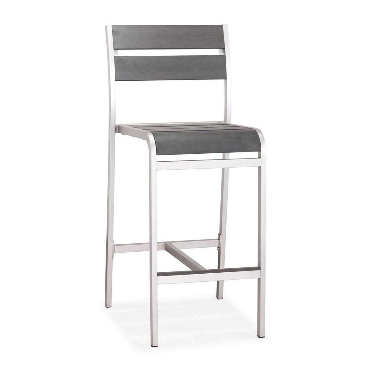 Zuo Modern Megapolis Bar Armless Chair - Brushed Aluminum