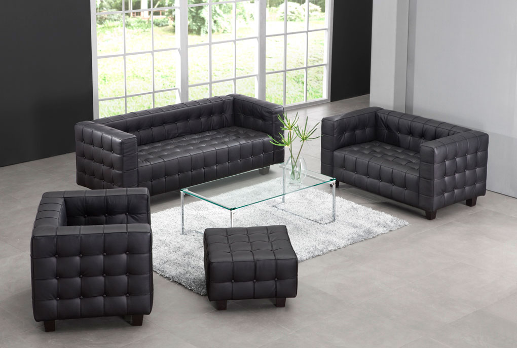 Lovely Zuo Modern Button Sofa   Black