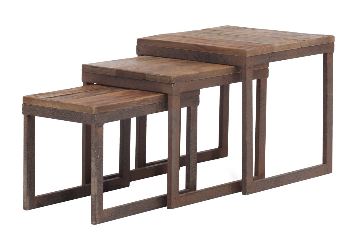Zuo Modern Civic Center Nesting Tables - Distressed Natural