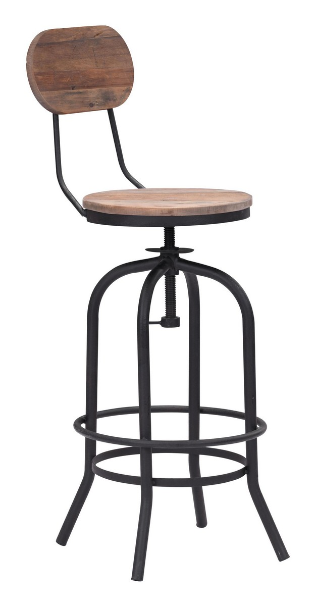 Zuo Modern Twin Peaks Bar Chair - Distressed Natural