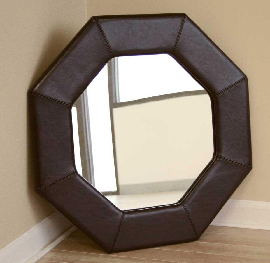 Wholesale Interiors A-58-J001 Octagon Espresso Brown Leather Mirror