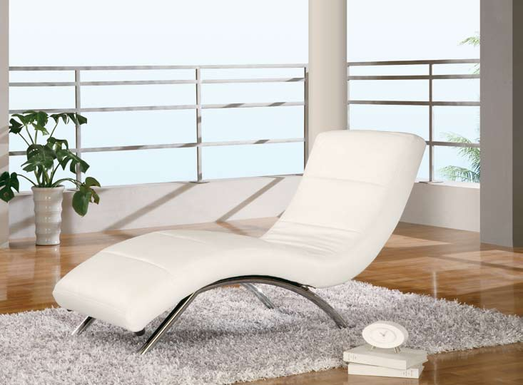 Global Furniture USA 820 Ultra Bonded Leather Relax Chaise - White