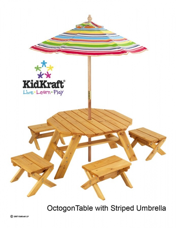 Octagon Table with 4 stools-KidKraft