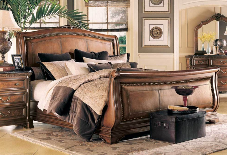 Grand Revival Dark Leather Sleigh Bed