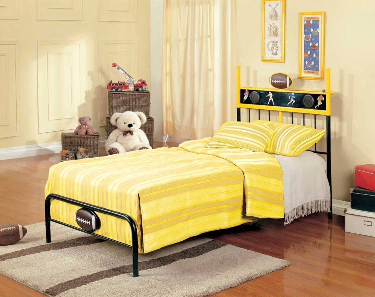 Melody Land Twin Football Speaker Metal Bed - Homelegance