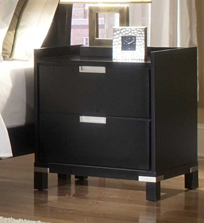 Bella Night Stand in Black - Homelegance