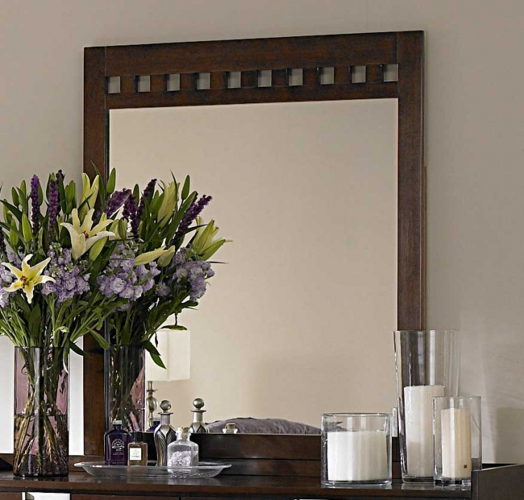 Bella Mirror in Warm Brown Cherry - Homelegance