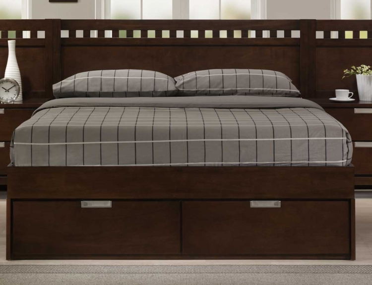 Bella Platform Storage Bed in Warm Brown Cherry - Homelegance