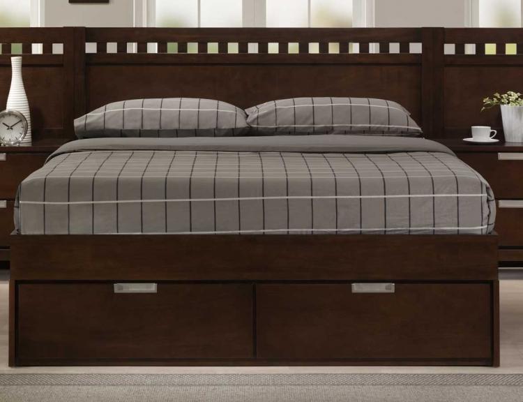 Bella Platform Storage Bed in Warm Brown Cherry