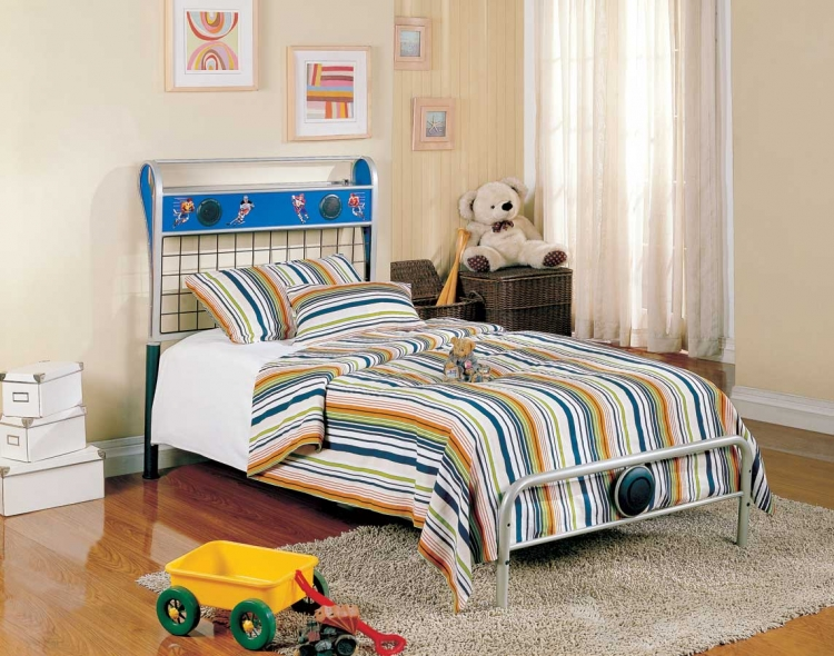 Melody Land Twin Hockey Speaker Metal Bed - Homelegance