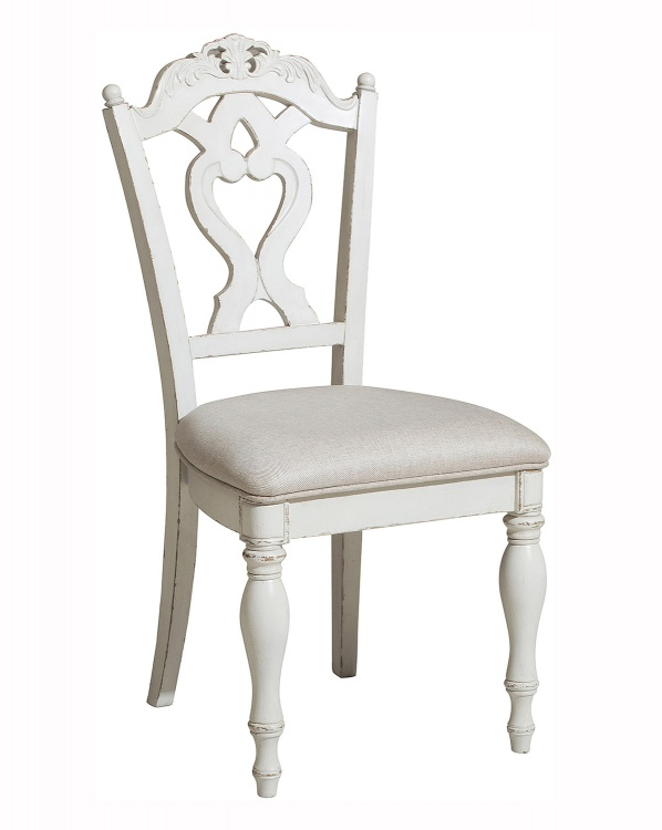 Cinderella Desk Chair - Antique White with Gray Rub-Through