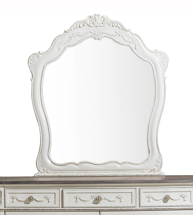 Cinderella Mirror - Antique White with Gray Rub-Through
