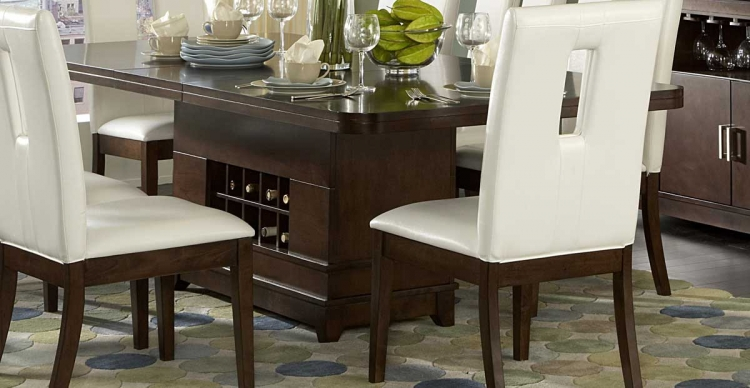 Elmhurst Dining Table with Wine Storage - Homelegance