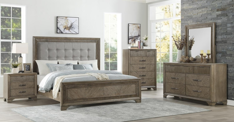 Caruth Bedroom Set - Gray Fabric