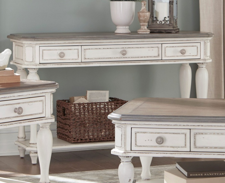 Willowick Sofa Table with Three Functional Drawers - Antique White Rub-Through/Brown Cherry Tops