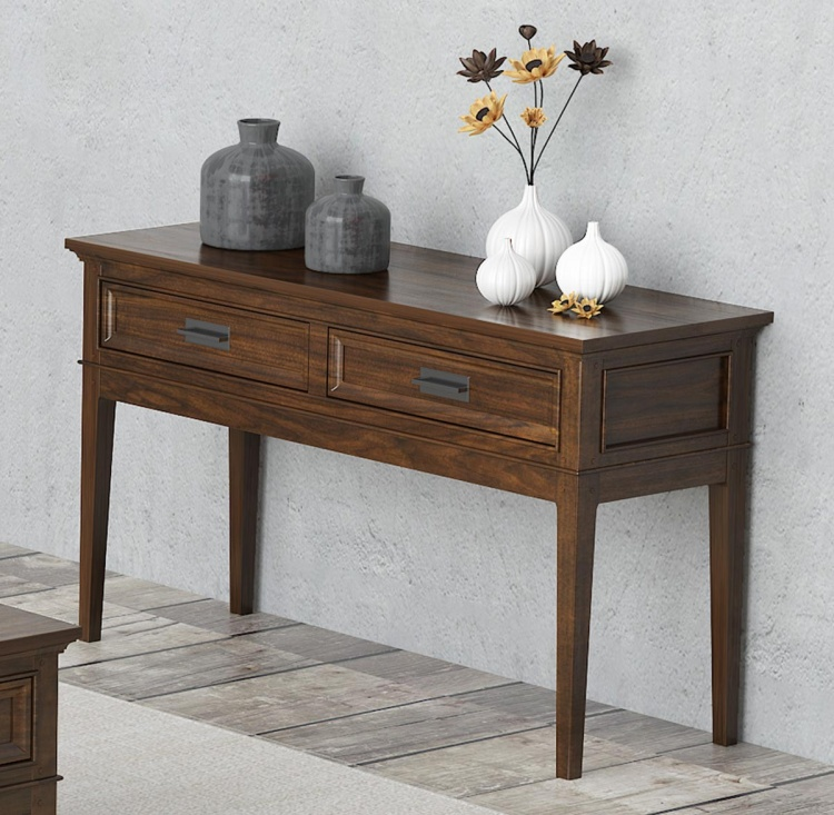Frazier Park Sofa Table with Two Functional Drawers - Brown Cherry