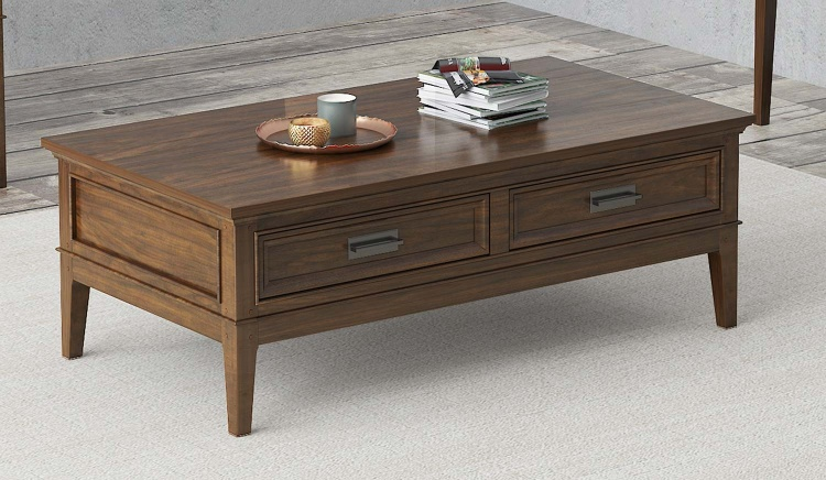 Frazier Park Cocktail Table with Two Functional Drawers - Brown Cherry