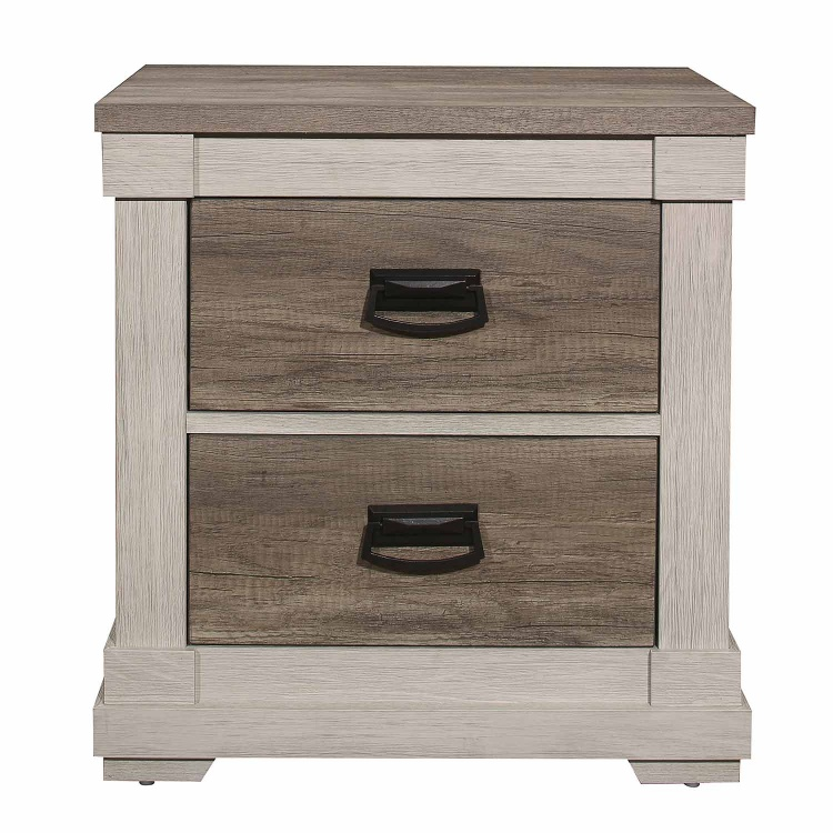 Arcadia Night Stand - White Framing and Variegated Gray Printed Faux-Wood Grain Veneer