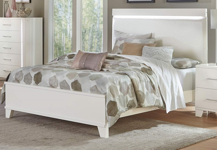 Kerren or Keren Upholstered Bed with LED Lighting - White High Gloss