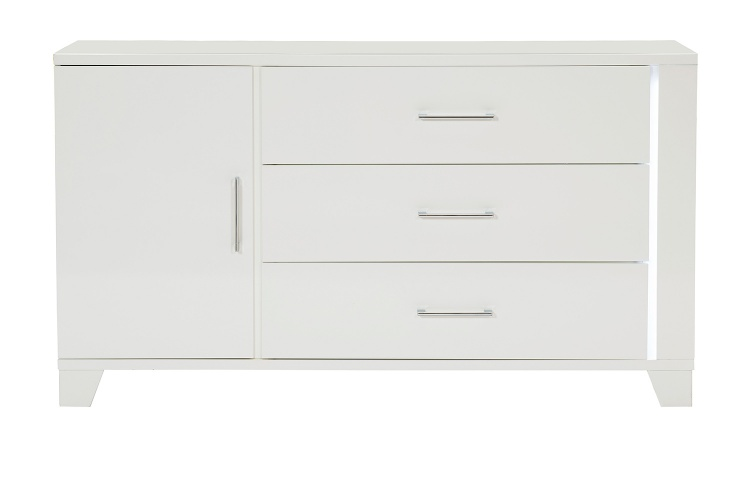 Kerren or Keren Dresser with LED Lighting - White High Gloss
