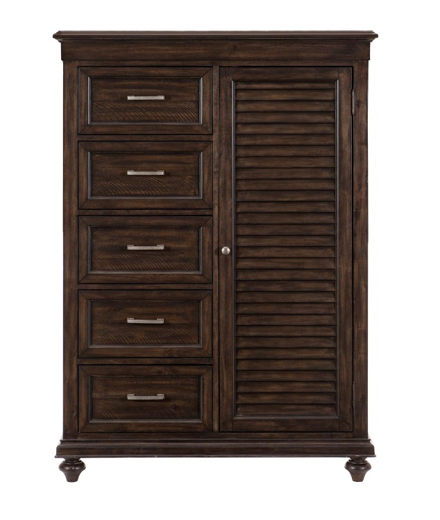 Cardano Wardrobe Chest - Driftwood Charcoal over Acacia Solids and Veneers