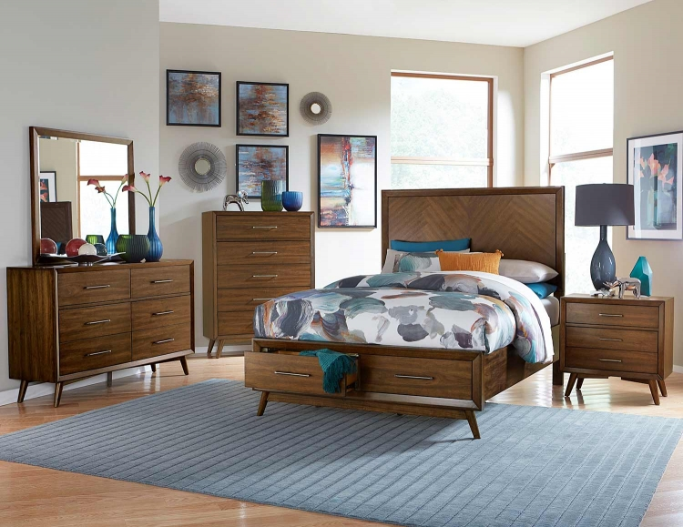 Raku Platform Bedroom Set - Warm Walnut
