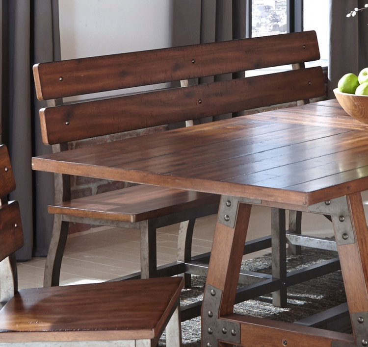 Holverson Bench with Back - Rustic Brown