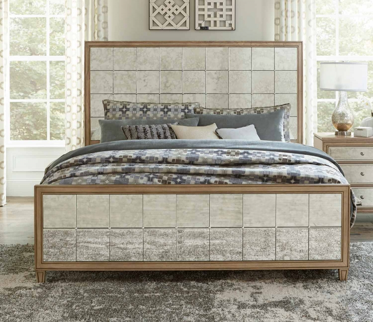 Kalette Panel Bed - Light Oak - Antiqued mirrored