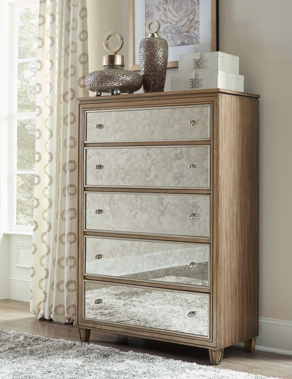 Kalette Chest - Light Oak - Antiqued mirrored