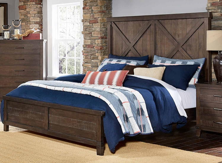 Hill Creek Panel Bed - Rustic Brown
