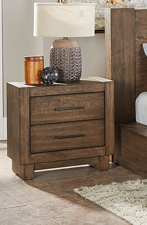 Korlan Night Stand - Brown Oak