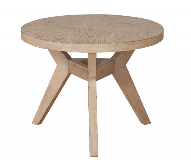 Liatris Round End Table - Natural Gray