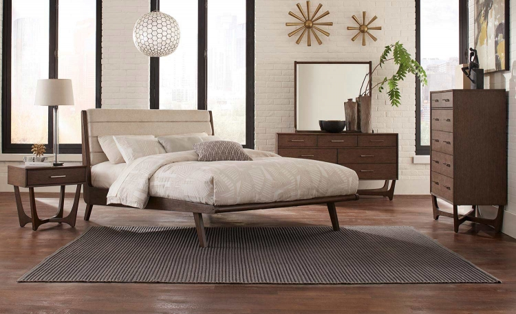 Ruote Upholstered Platform Bedroom Set - Brown-Gray
