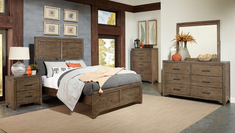 Lyer Panel Bedroom Set - Rustic Brown