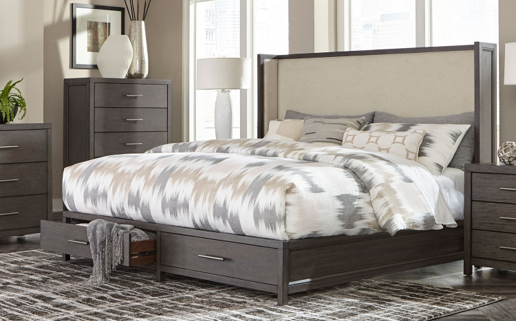 Fondren Platform Storage Bed - Dark Gray/Brown