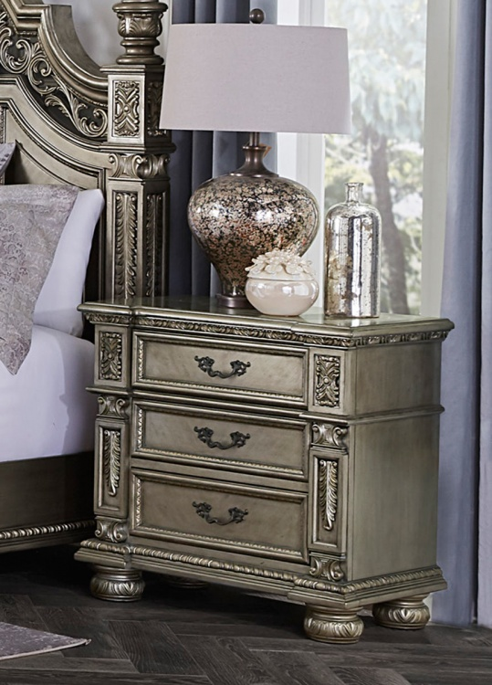Catalonia Night Stand - Traditional Platinum Gold Finish with Cherry Veneer