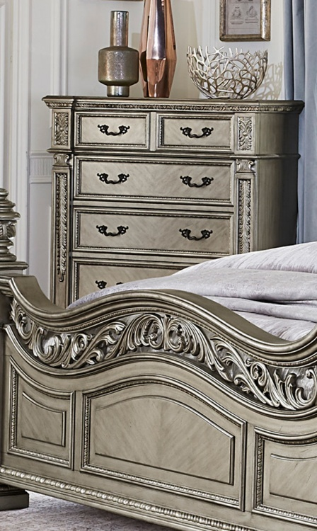 Catalonia Chest - Traditional Platinum Gold Finish with Cherry Veneer