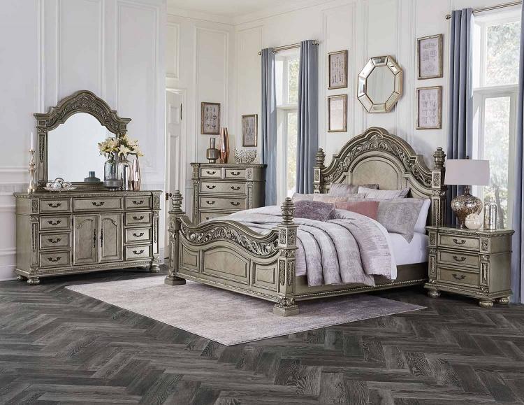 Catalonia Bedroom Set - Traditional Platinum Gold Finish with Cherry Veneer