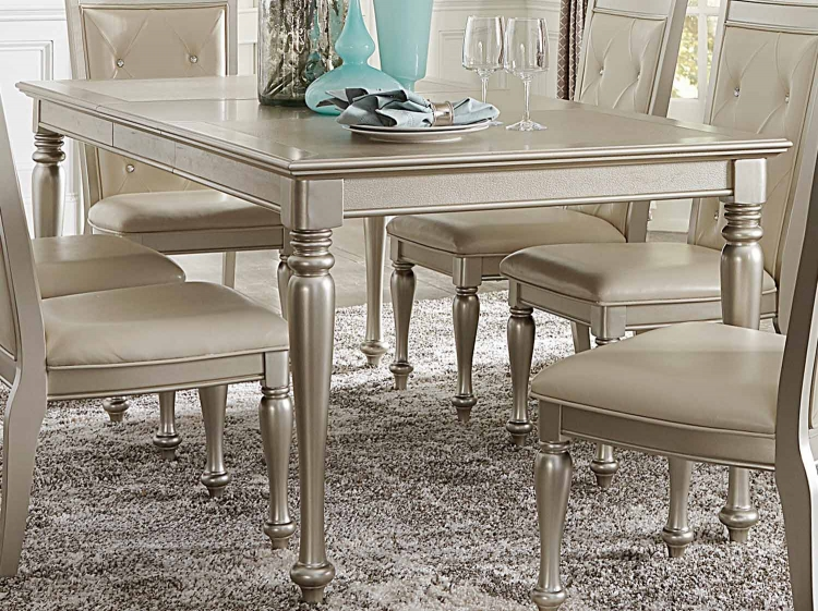 Celandine Dining Table - Silver - Bi-Cast Vinyl