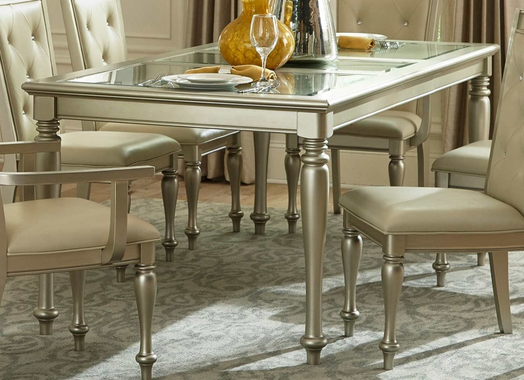 Celandine Dining Table - Glass Insert - Silver