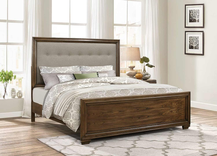 Leavitt Upholstered Bed - Brown Cherry